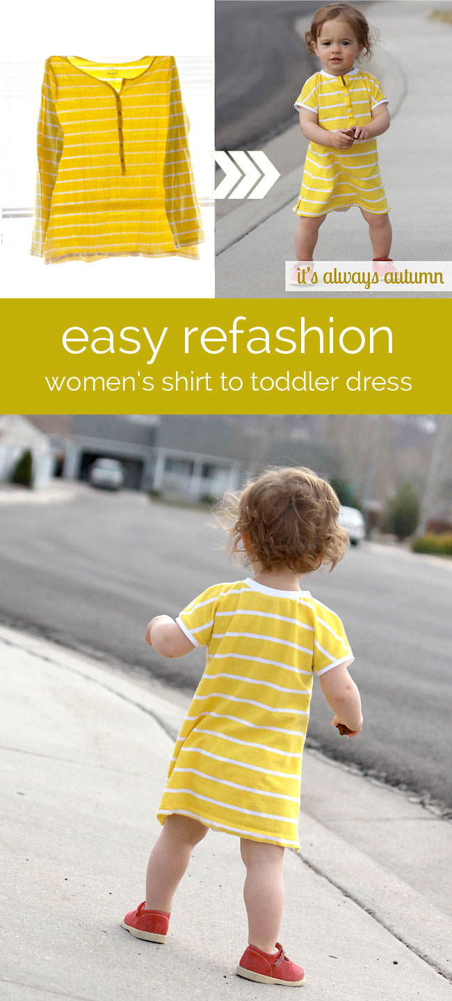 refashion an old or unworn women's tee into an adorable dress for a baby/toddler girl with this easy sewing tutorial