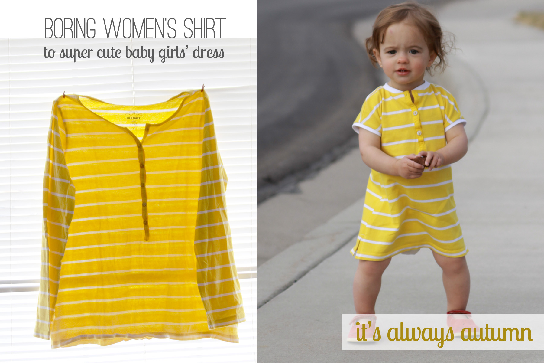 Sew baby dress from women 39 s shirt it 39 s always autumn for How to create a t shirt