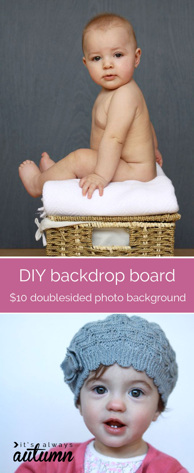 how to make a DIY photography background/backdrop board - double sided, two colors, for about $10!