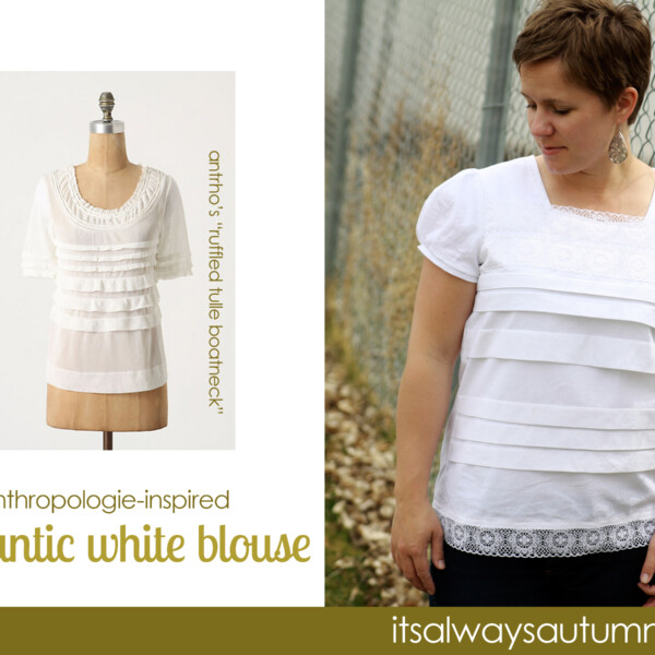 woman wearing white blouse made to look like a blouse from anthropologie