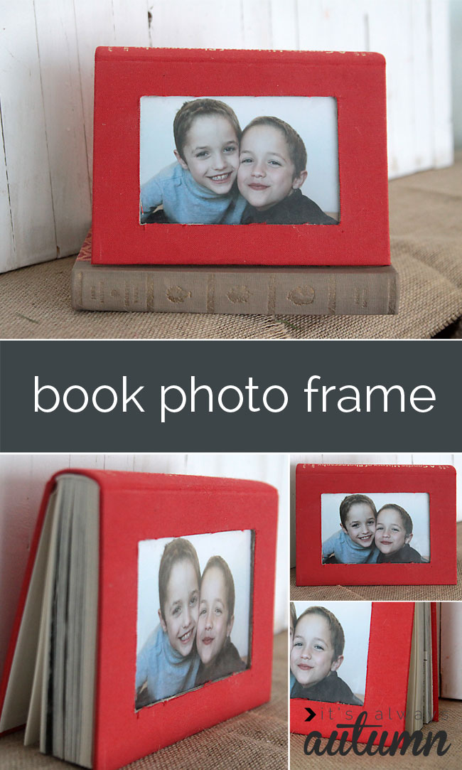 how to turn an old book into a cool photo frame