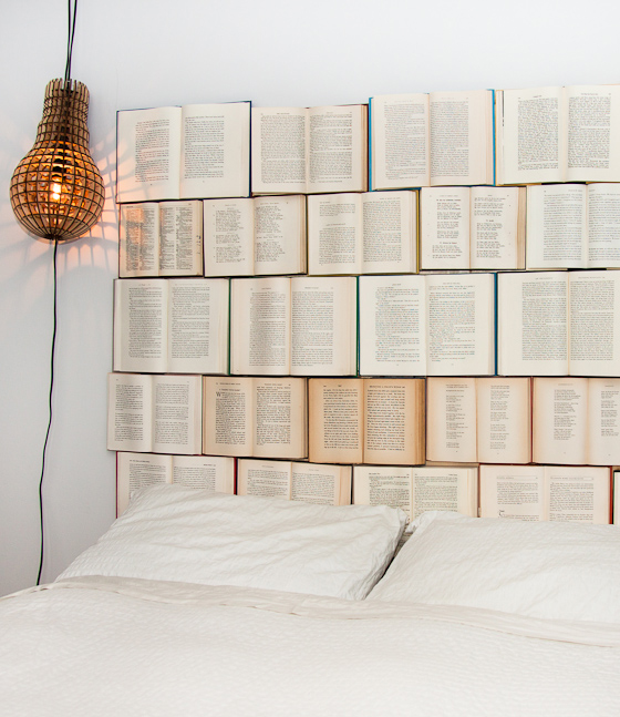 How to decorate with books and book pages - make a book headboard