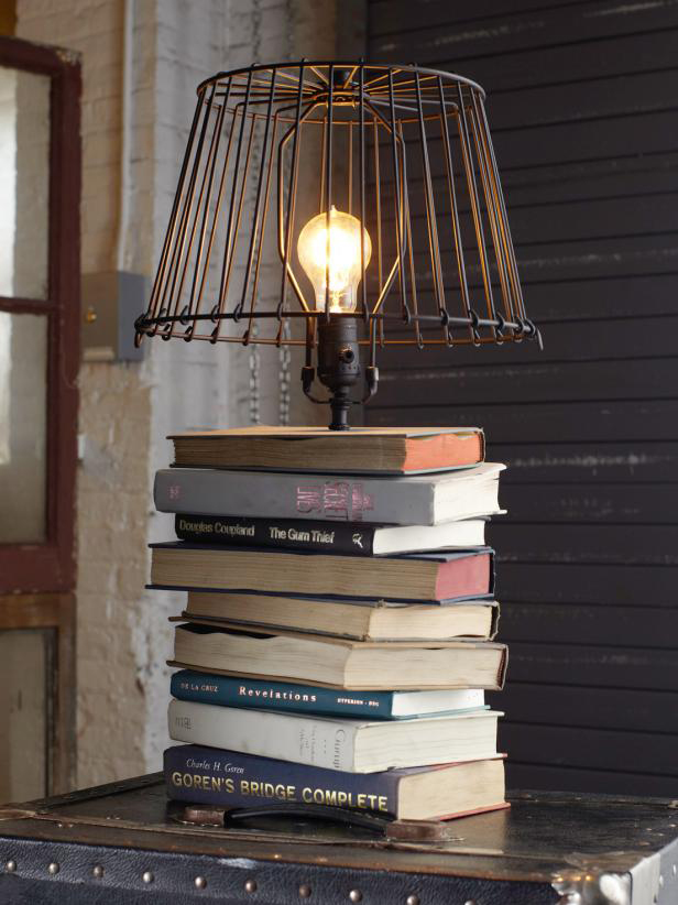 How to decorate with books and book pages - book table lamp