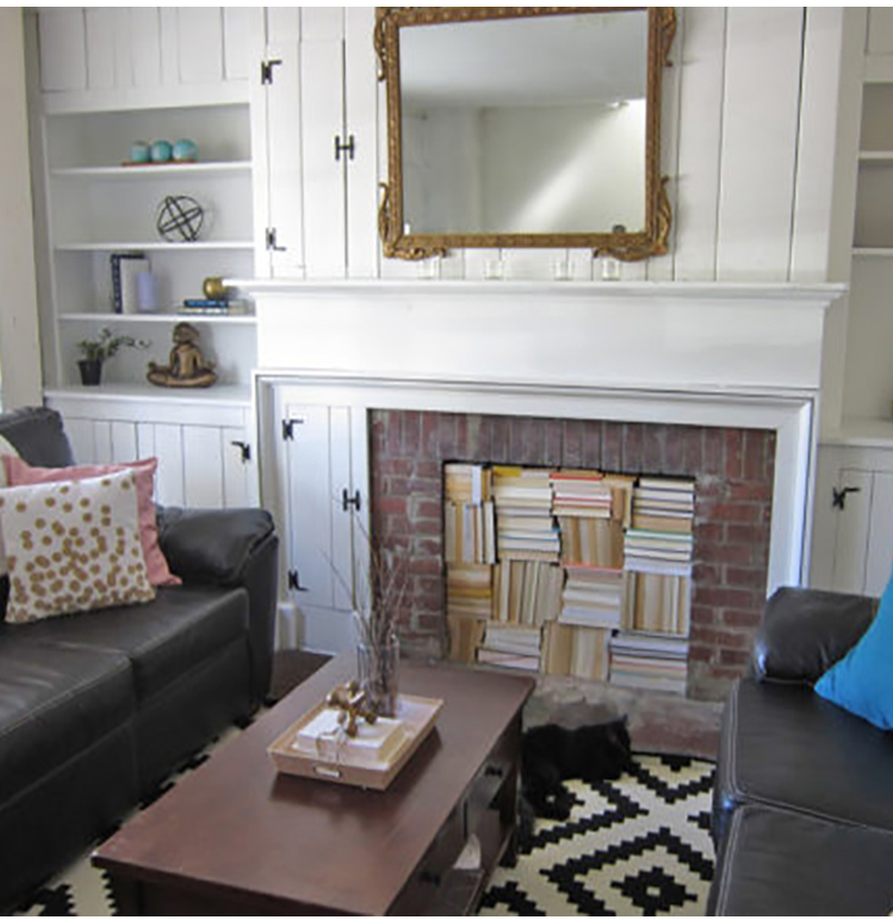 How To Decorate With Books And Book Pages Filled Fireplace