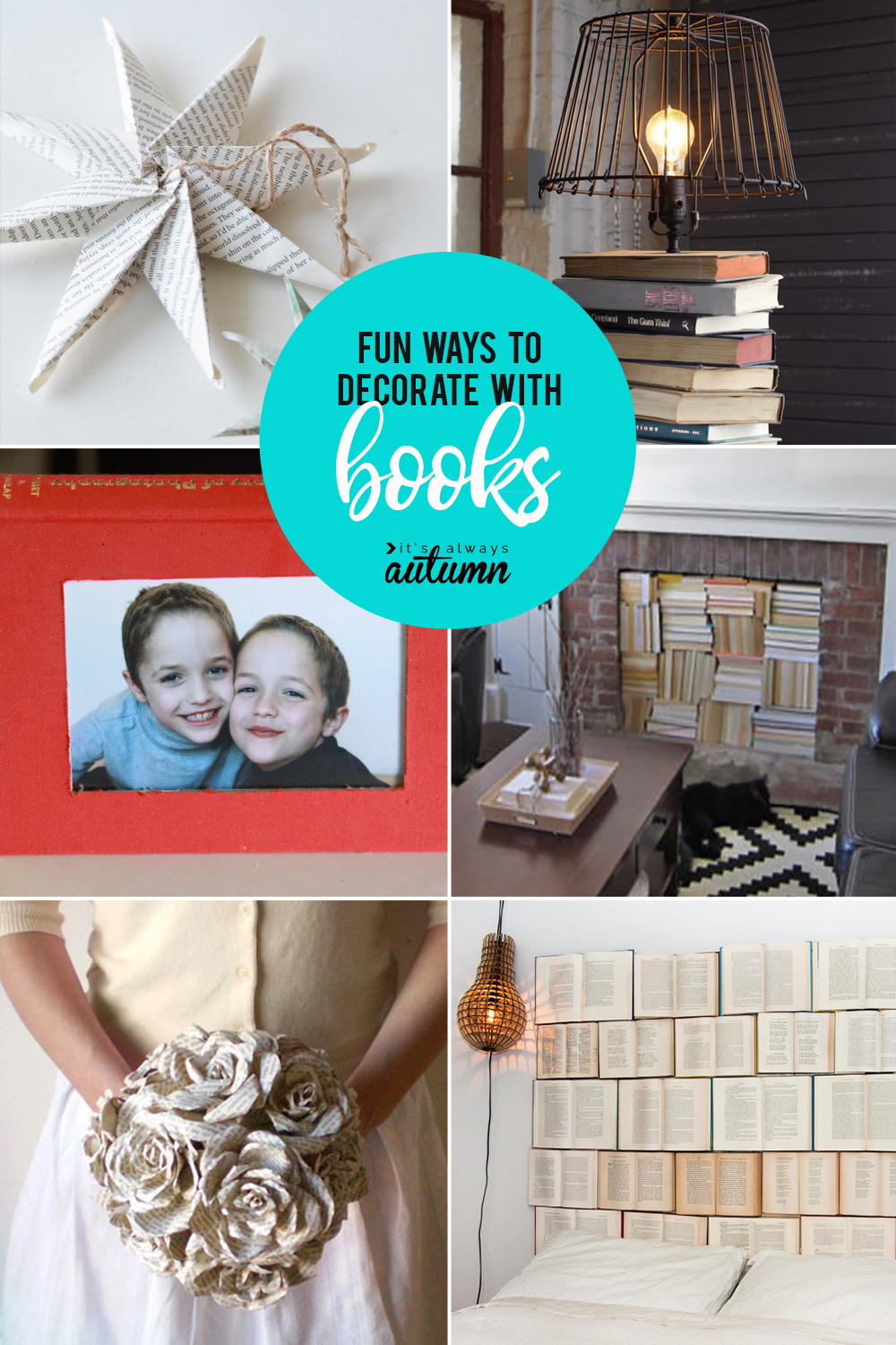 How to decorate with books and book pages