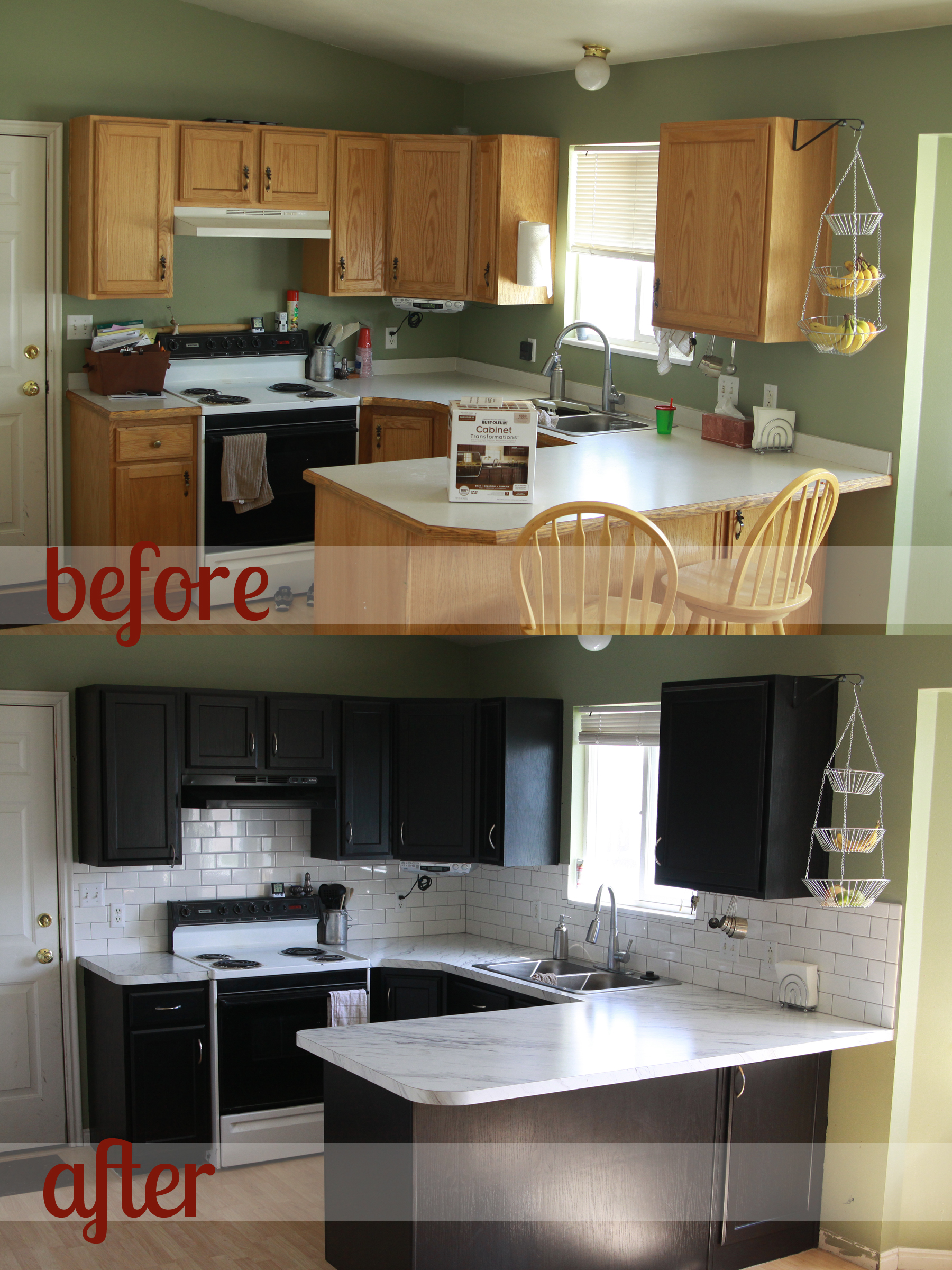Kitchen Transformation Part 2 {and Review Of Rustoleum Cabinet  Transformations}