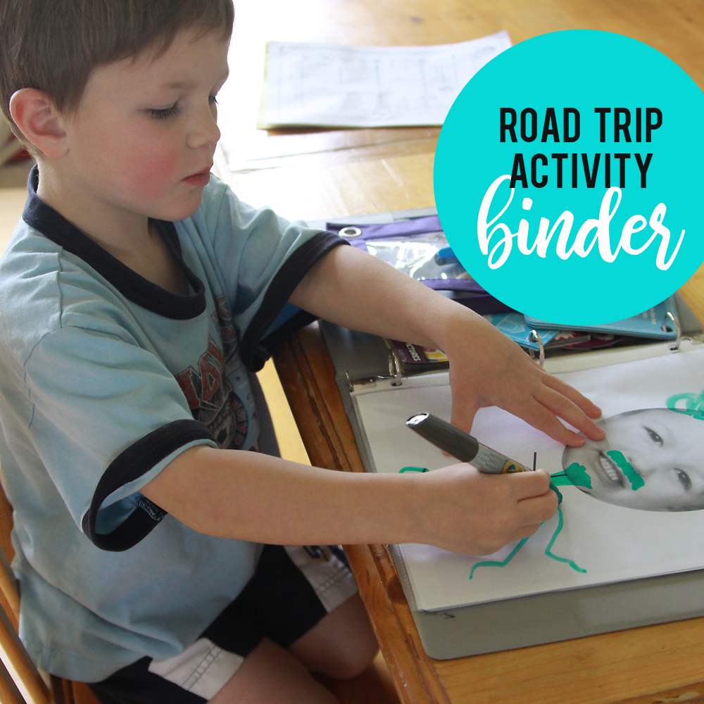 Keep kids happy on long car roads with a DIY road trip binder full of coloring and activity pages. Things for kids to do on a road trip.