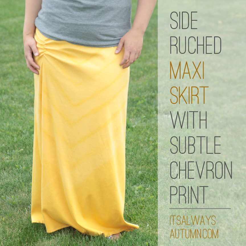 sew: the side ruched maxi skirt with subtle chevronprint