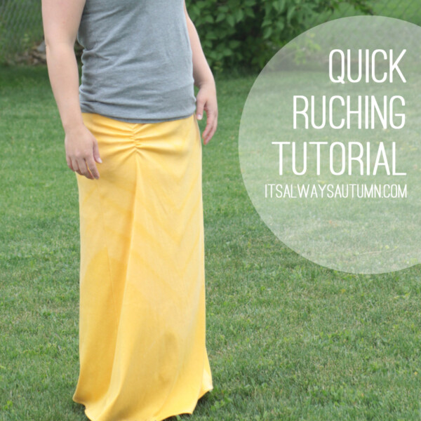 A woman wearing a long yellow maxi skirt with ruching at the hip; quick ruching tutorial