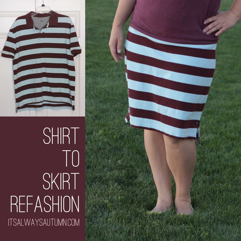Sew shirt to skirt refashion the mommy version it 39 s for Make a polo shirt