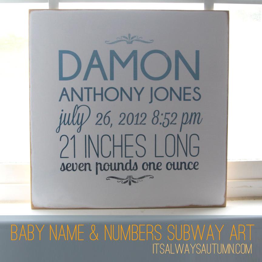 baby name and numbers subwayart