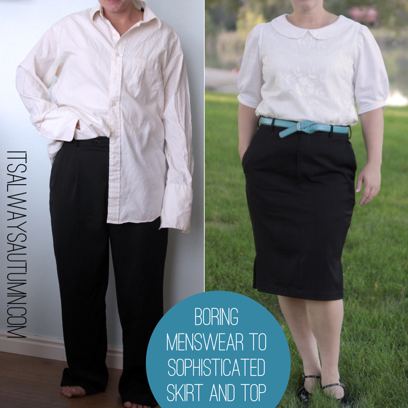 refashion: boring menswear to sophisticated skirt andtop