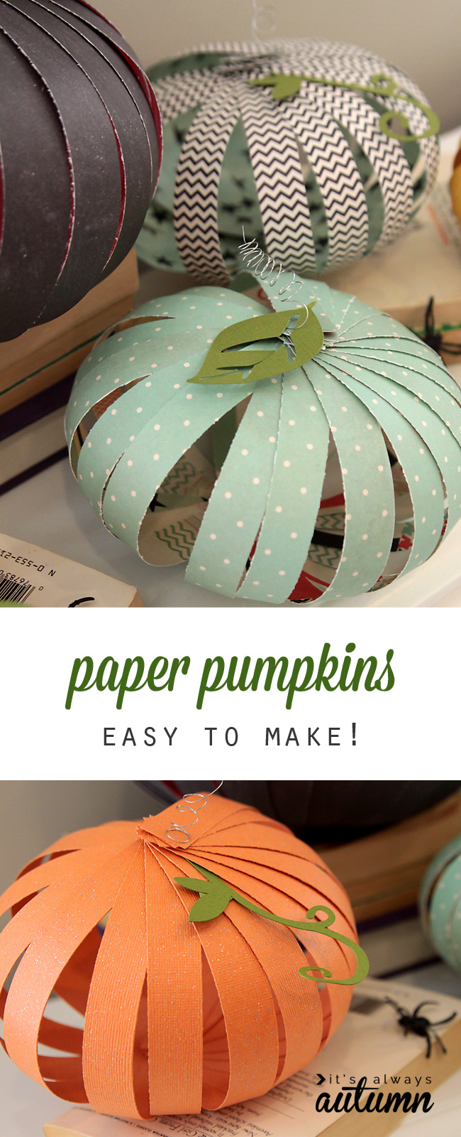 These paper strips pumpkins are cute inexpensive