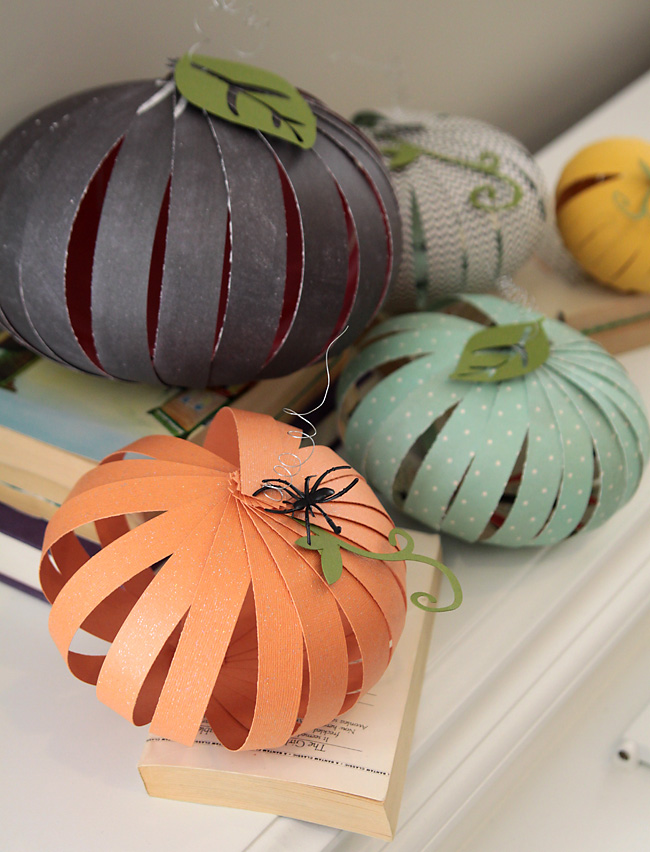 these paper strip pumpkins are cute inexpensive and super easy to make using scrapbook