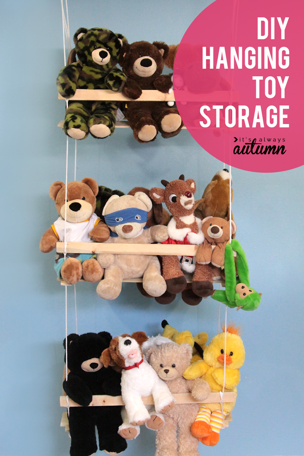 Organize your stuffed animals with this easy to build hanging toy storage swing!