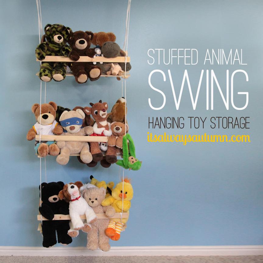 stuffed animal swing {DIY hanging toystorage}