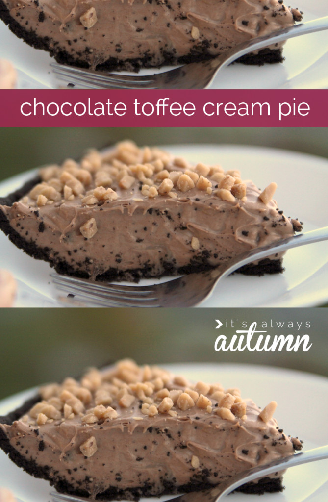 easy chocolate toffee cream pie for thanksgiving