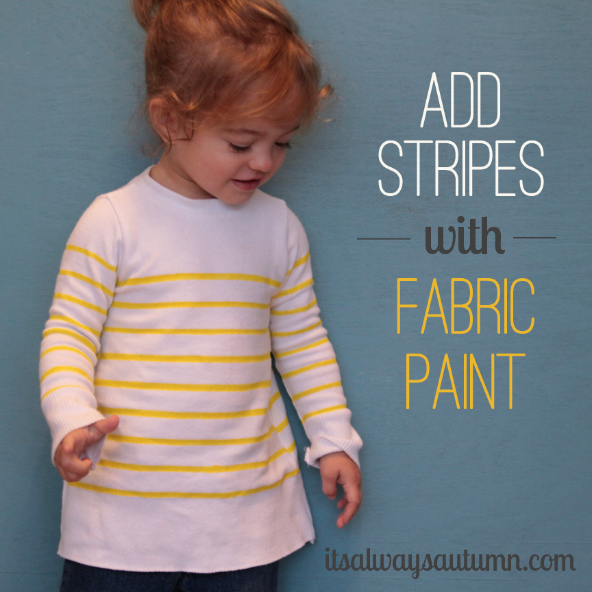 add stripes with fabric paint {sweaterrefashion}