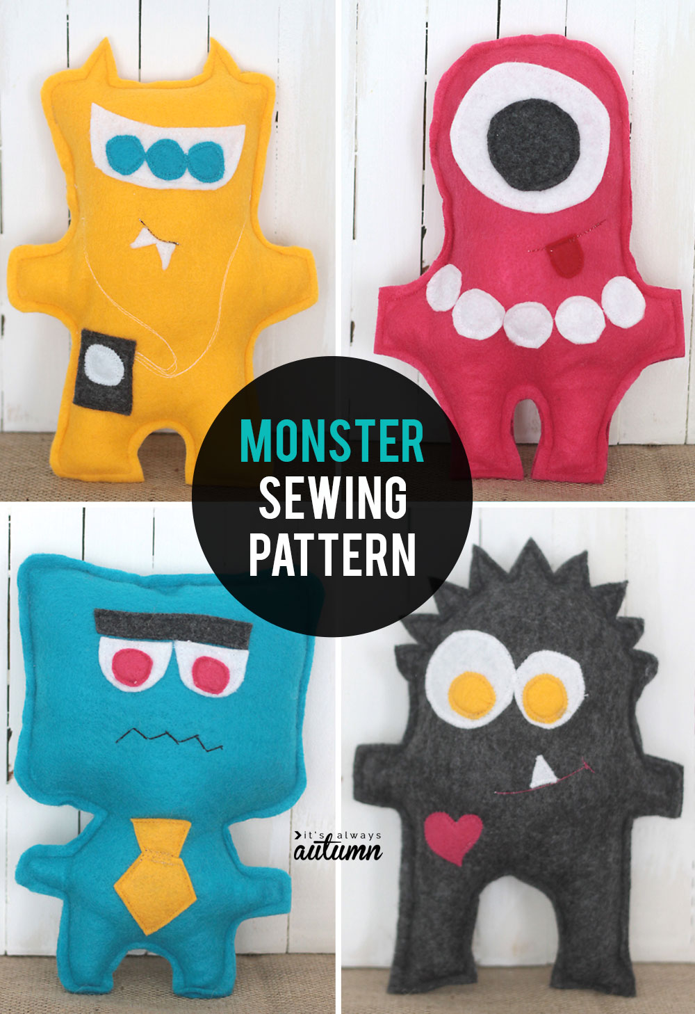 Click through for the free pattern for these adorable little felt monsters! Five mix-n-match monsters included in this easy beginner sewing project.