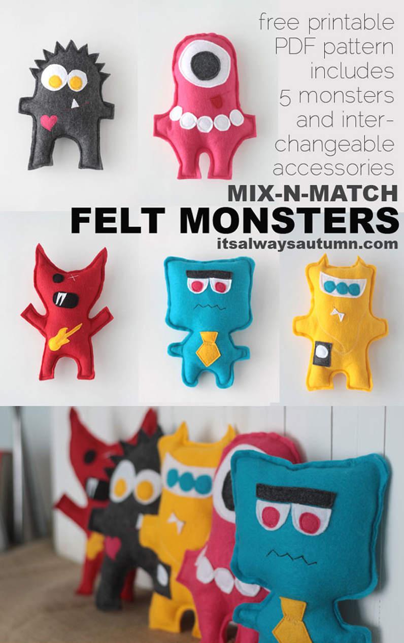 These felt monsters are the perfect beginning sewing project for kids! Click through to download patterns for five different monsters.