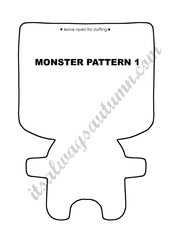 Free easy sewing pattern for felt monster dolls for Mosnter template