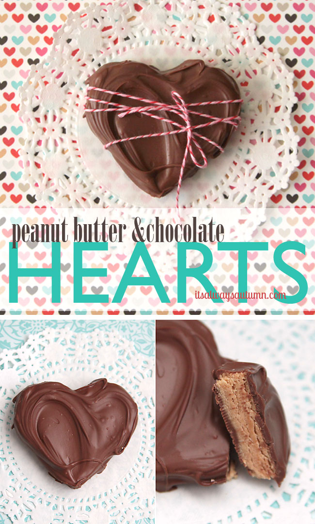peanut butter and chocolate hearts recipe for Valentine's Day