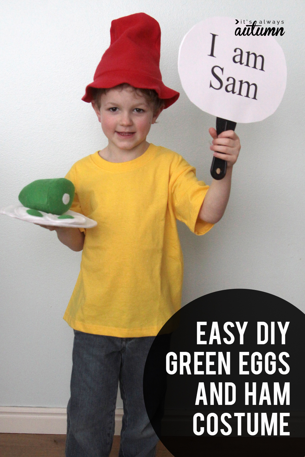 Easy DIY Green Eggs and Ham costume for Dr. Suess day!