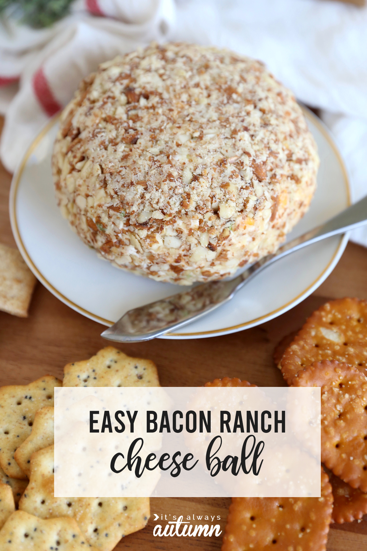 You will LOVE this easy bacon ranch cheeseball! The perfect easy appetizer for the holidays or anytime.