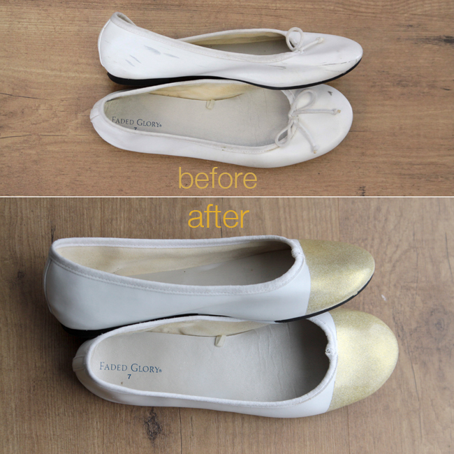 diy gold tipped ballet flats thrift store rescue it 39 s always. Black Bedroom Furniture Sets. Home Design Ideas