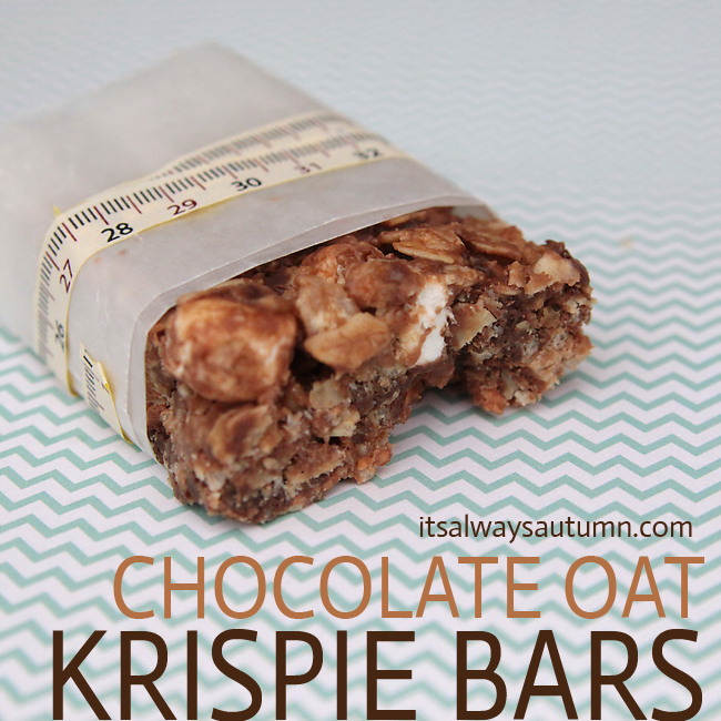 devilishly tasty chocolate oat krispie bars {homemade granolabars}