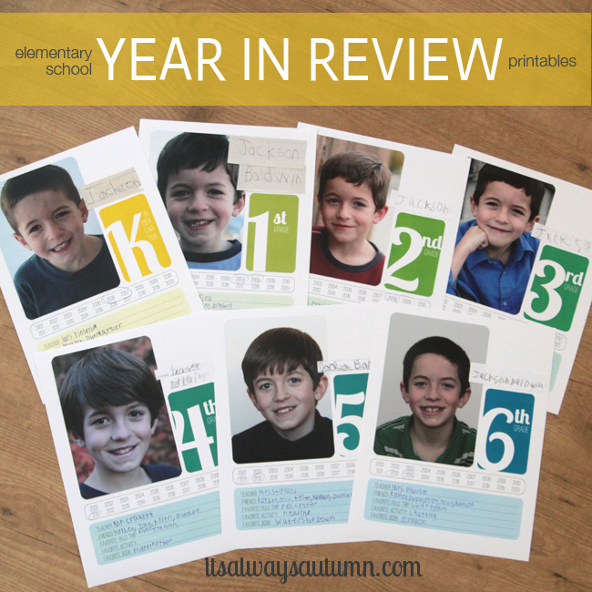 elementary school year in review printable dividerpages