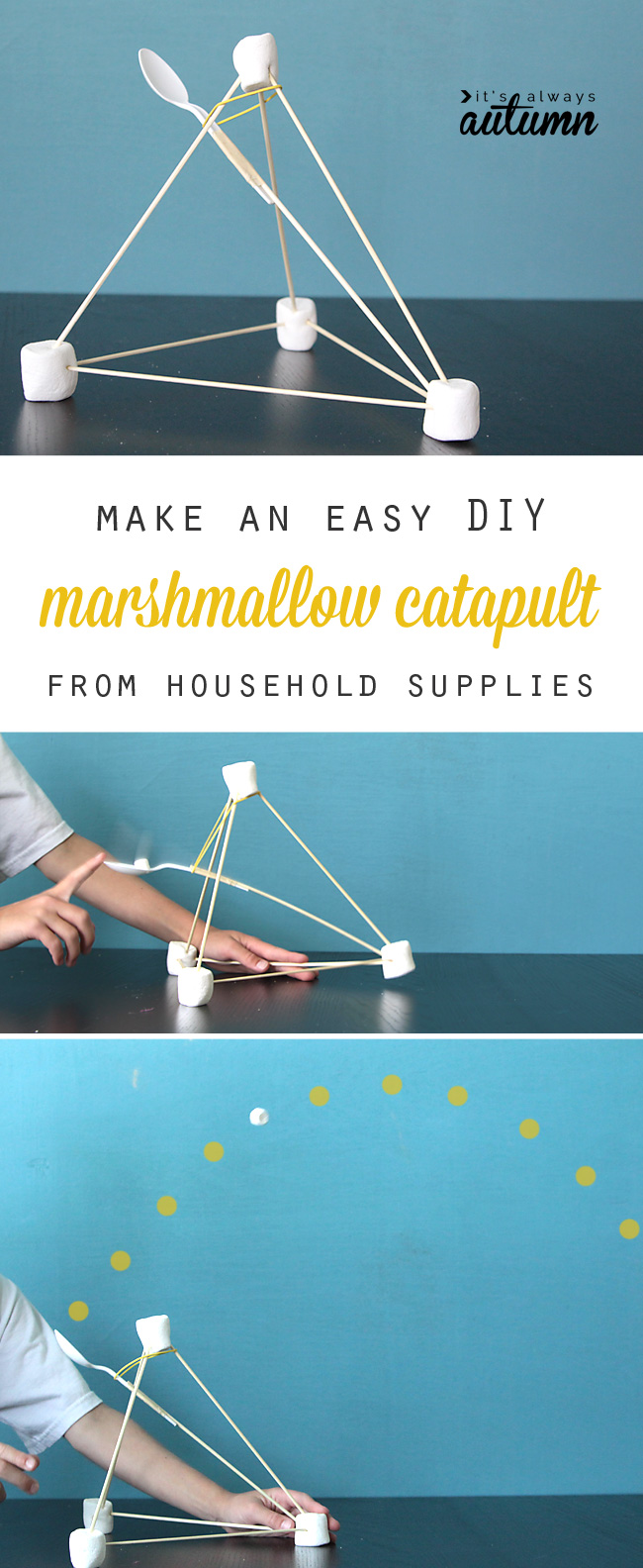 Genius! This simple marshmallow catapult can be made from common household supplies and is so easy to put together kids can do it on their own! Great science learning activity, and lots of fun. How to make a marshmallow launcher.