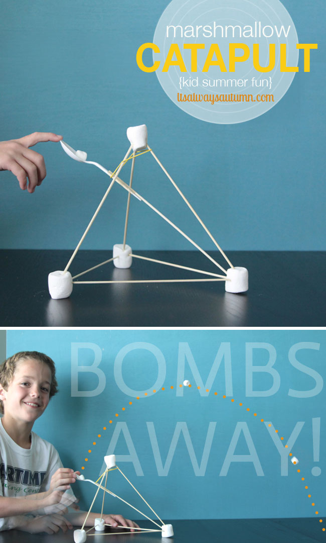marshmallow launcher - so fun! Easy instructions for a simple marshmallow catapult kids can make with household materials - great rainy day activity!