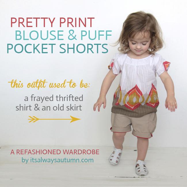 pretty print blouse & puff pocket shorts {a refashionedwardrobe}