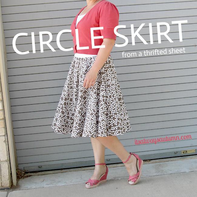 DIY circle skirt from a thriftedsheet