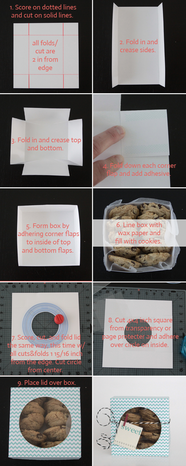 How to scrapbook a box - Easy Diy Folded Paper Cookie Treat Gift Box Tutorial