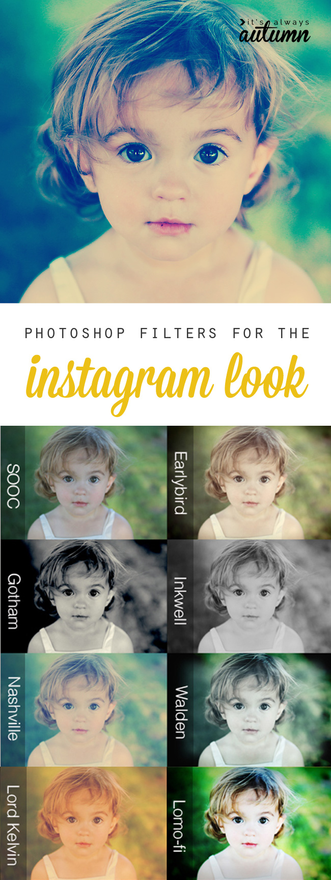 Easy to use Photoshop filters give you the instagram look, without having to use instagram. Great for old photos or photos you didn't take with your phone!