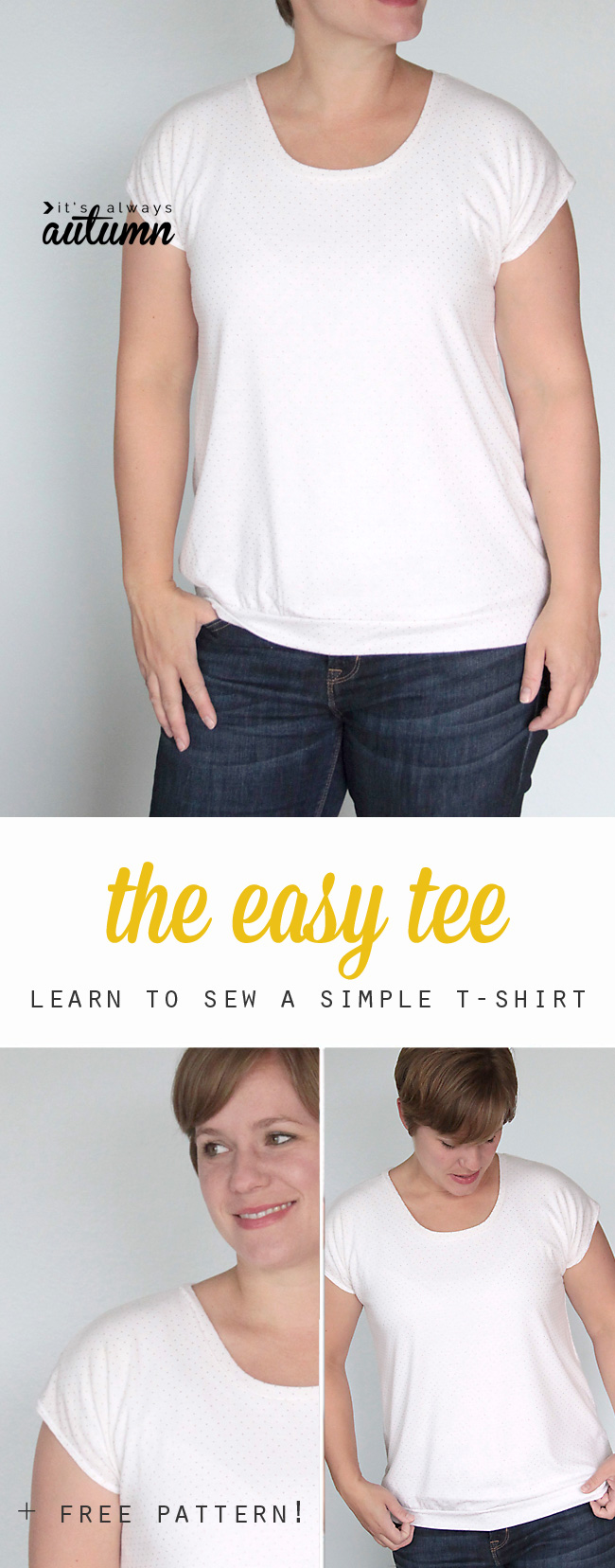 learn the simplest way to make a women's tee with this easy to follow sewing tutorial - use the free pattern included or learn to make your own!