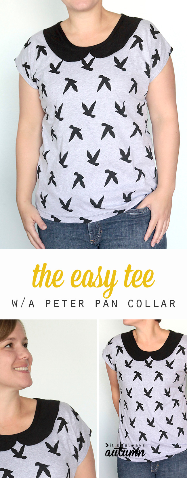 Free pattern for easy womens t shirt tee sewing tutorial free sewing pattern and tutorial for this easy to sew womens tee with a cute peter jeuxipadfo Image collections