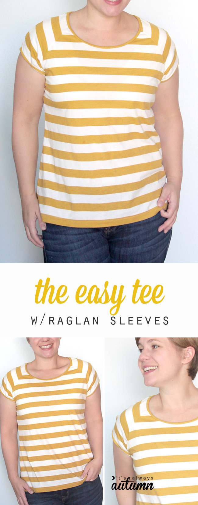 Free pattern and sewing tutorial for this easy to sew raglan sleeve tee for women.