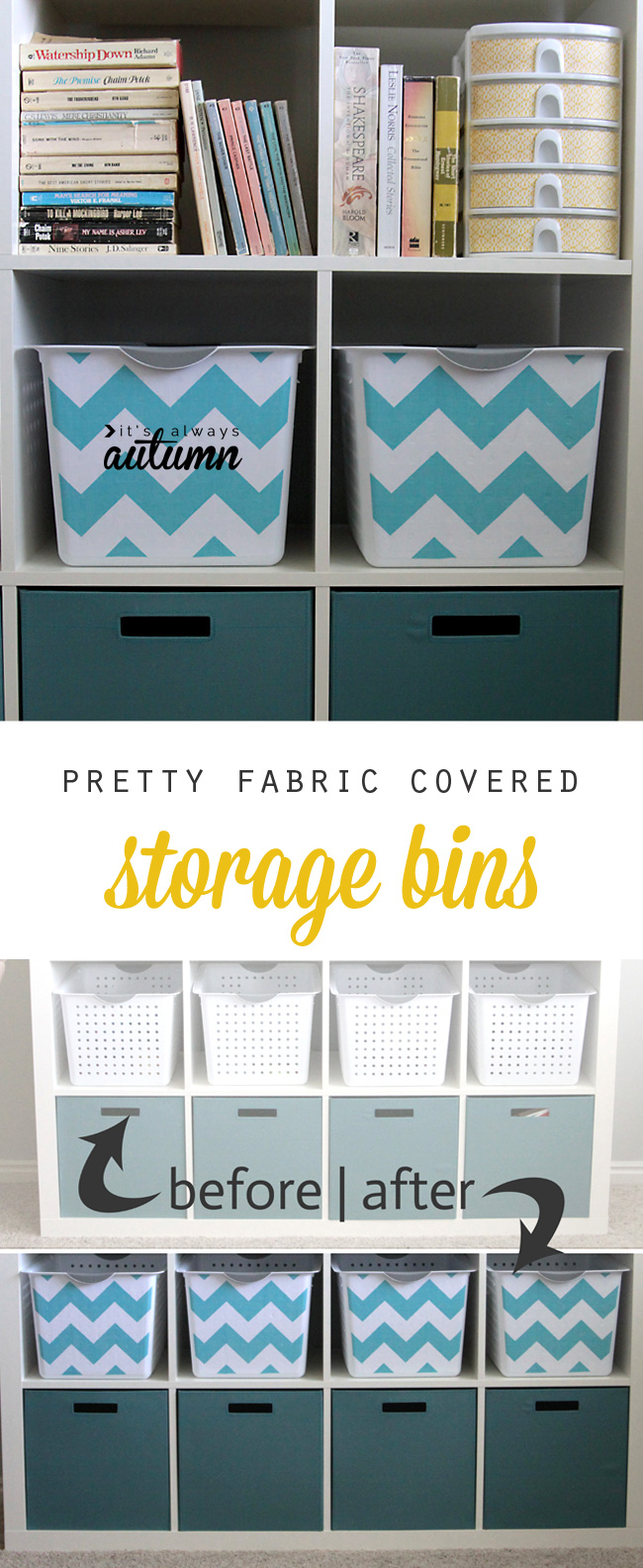 turn cheap plastic storage bins into pretty fabric covered bins with this easy DIY (free & get organized with easy DIY fabric covered storage bins - Itu0027s ...