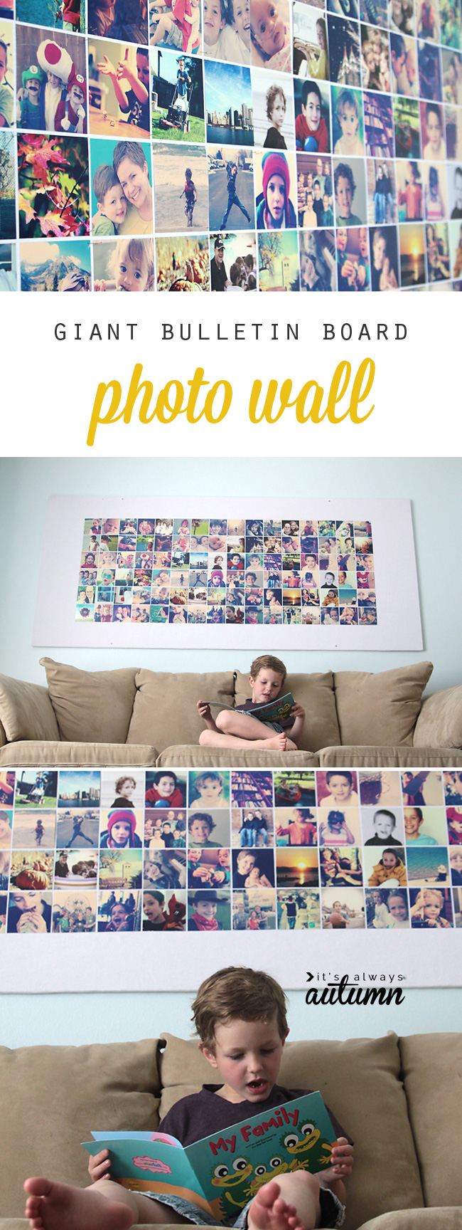 Giant DIY picture bulletin board for less than $20!