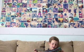 huge DIY photo wall bulletin board {instagramwall}