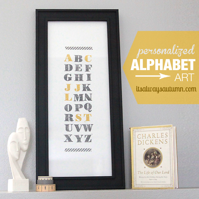 family initials alphabet art + a Stampin' Up! giveaway