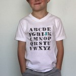 stamped alphabet t-shirt {first day of schooloutfit}