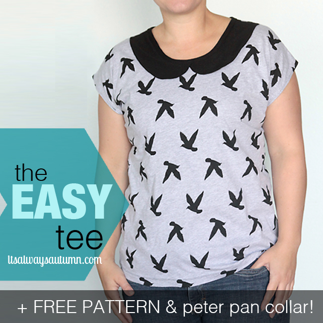 Free pattern for easy women 39 s t shirt tee sewing tutorial for Peter pan shirt pattern
