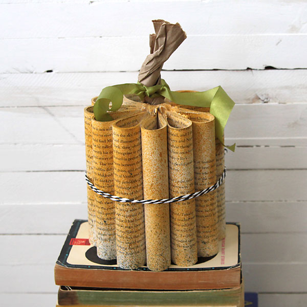 rolled book paper pumpkin {Halloween decorations}