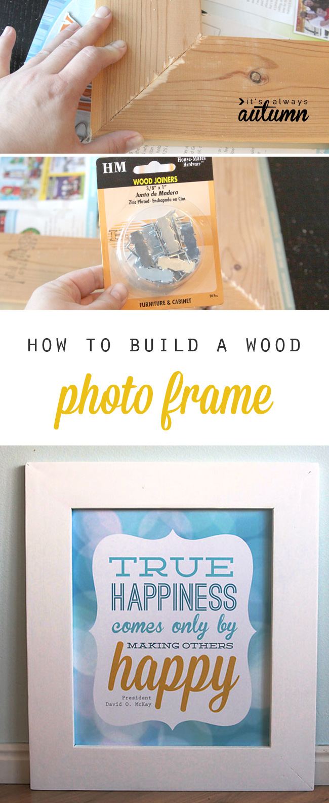 Learn how to build a large mitered photo frame for under 10 dollars in about half an hour. DIY wood photo frame tutorial.