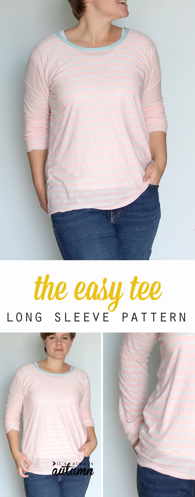 Learn how to sew this comfy long sleeve tee using an easy t-shirt pattern. Free sewing pattern.