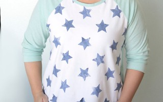 the easy tee {the hand stamped 3/4 raglan sleeveversion}